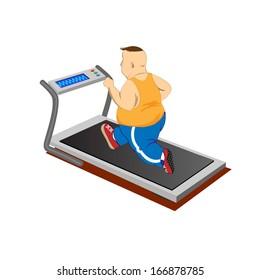 Overweight men running on a treadmill.Vector Illustration