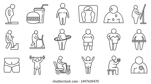 Overweight people icons set. Outline set of overweight people vector icons for web design isolated on white background
