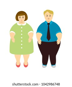 Overweight people. Man and woman