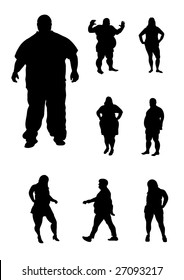 overweight people silhouettes