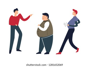 Overweight person going down street people mocking fat male vector humiliation and mockery from males bad lifestyle of man fellows mockery pressure on character with big abdomen big size embarrass.