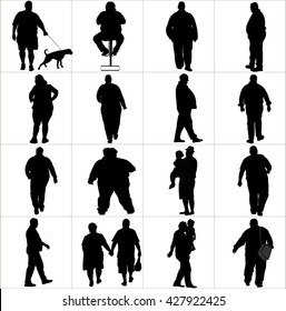 Overweight persons, seniors, man, woman vector silhouette illustration isolated on white background. Active walking life.