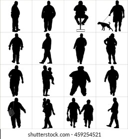 Overweight persons, seniors, man, woman vector silhouette illustration isolated on white background. Active walking life. Fat man. Fat couple. Fat girl. Big boy. Cholesterol killer Health care concept