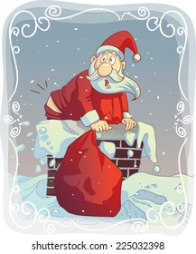 Overweight Santa Stuck in the Chimney - Vector cartoon of a funny Santa trying to fit the chimney File type: vector EPS AI8 compatible. No transparencies, only compatible gradients.