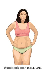 overweight woman with fat belly. obese woman lingerie