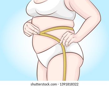 An overweight woman makes a stomach measurement. Waist measurements. Overweight, diet.