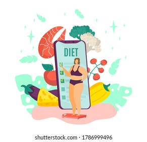 Overweight woman on diet, fat female and healthy dietary food with diet program from dietitian on smartphone isolated vector illustration. Healthy lifestyle for obese person, weight losing.