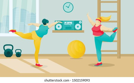 Overweight Women Exercising at Gym. Aerobics, Yoga, Stretching for Slimming. Chubby Girls Going in for Sports. Plus Size People Female Characters Fighting with Excess Weight. Vector Illustration