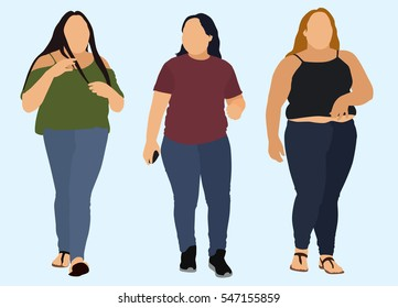 Overweight Women Walking Together