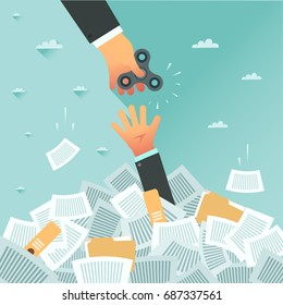 Overwhelmed student get spinner for good study and exam. Pile of papers and overwhelmed student. Too much study and stress. Education, work and relax concept. Vector flat design colorful illustration.
