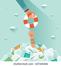 Overwhelmed student and pile of books. Student getting rescue ring. Too much study. Student's hand drowning in books. Exams concept. Vector flat design colorful illustration