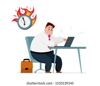 Overwork deadline late office work concept. Stressed male office employee character sitting at workplace with laptop and clock in fire. Burning time management vector illustration