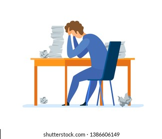 Overwork, Office Routine Flat Vector Illustration. Depressed Corporate Worker, Student Sitting in Chair Cartoon Character. Stressed Businessman Overloaded with Paperwork. Tired Man Working Overtime