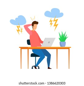 Overwork, Trouble at Work Flat Vector Illustration. Stressed Freelancer, Student with Migraine Cartoon Character. Tired Employee Working Overtime. Clouds with Lightning, Deadline Metaphor