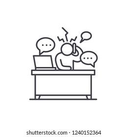 Overwork at work line icon concept. Overwork at work vector linear illustration, symbol, sign
