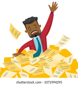 Overworked african-american business man sinking in the heap of papers. Stressed businessman having a lot of paperwork. Paperwork concept. Vector cartoon illustration isolated on white background.