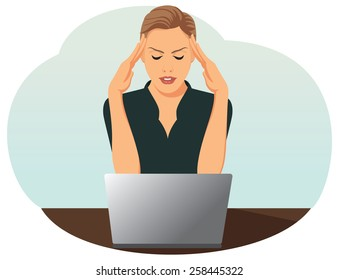 Overworked business woman is under stress with headache