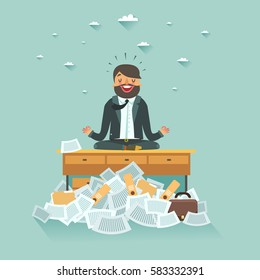 Overworked businessman meditating on office table under a lot of documents. A lot of work concept. Yoga businessman. Vector colorful illustration in flat style