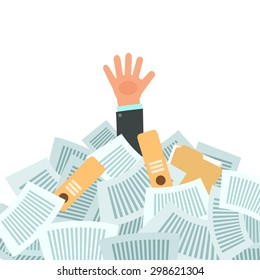 Overworked businessman under a lot of documents. A lot of work concept. Vector colorful illustration in flat design isolated on white