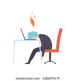 Overworked exhausted man sitting at his working place with computer in office, businessman with burning brain, emotional burnout concept