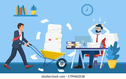 Overworked in the office. male worker at the desk exhausted with too much paper work, his colleague pushing a wheelbarrow full of paper, documents. Vector illustration in flat style