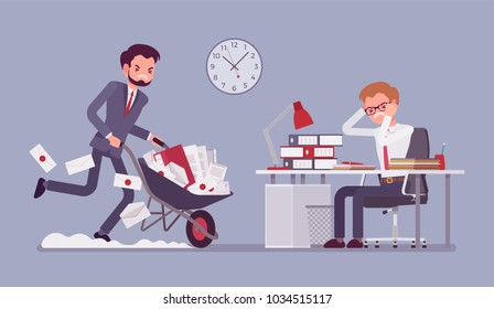 Overworked in the office. Young male worker at the desk exhausted with too much paper work, his colleague pushing a wheel full of documents, files and letters. Vector flat style cartoon illustration