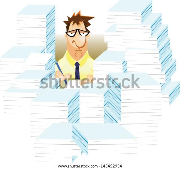 Overworked sad cartoon business man - Vector clip art illustration on white background