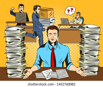 Overworked stressed businessman relaxing practicing yoga in the office, meditating with closed eyes to de-stress flanked by two tall stacks documents. Comic cartoon pop art retro vector illustration