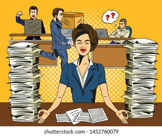 Overworked stressed businesswoman relaxing practicing yoga in the office. Meditating with closed eyes to de-stress. Comic cartoon pop art retro vector illustration drawing.