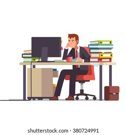 Overworked and tired looking accountant sitting at his desk with piled document binders. Business stress. Flat style modern vector illustration.
