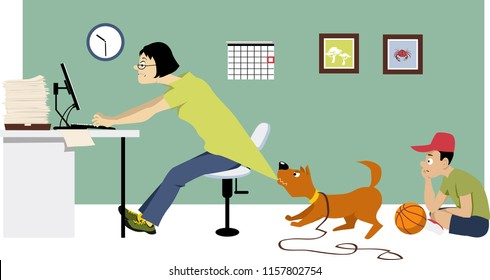 Overworking single mother trying to keep working at home on Saturday while her son waiting for her to go for a walk, EPS 8 vector illustration