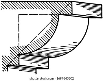 Ovolo, A roman moulding, composed of a quarter of a circle, an upper and lower fillet,  made apparent by referring to the figure, vintage line drawing or engraving illustration.