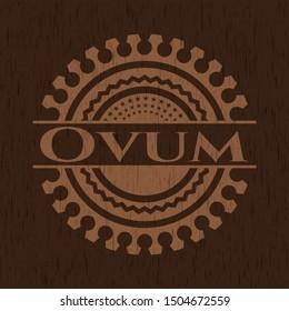 Ovum retro wood emblem. Vector Illustration.