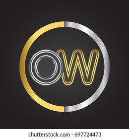 OW Letter logo in a circle. gold and silver colored. Vector design template elements for your business or company identity.