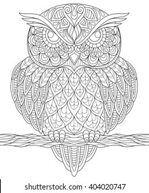 Owl Animal Mandala Coloring Page Adult Stock Vector (Royalty Free ...