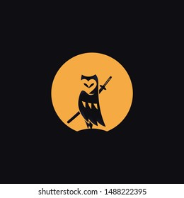 owl, animal, japan, katana, logo, ninja, samurai, ronin, sword, bird