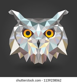 owl bird animal 3d low poly white