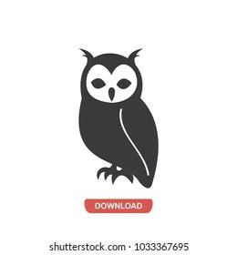 Owl, bird, animal vector icon
