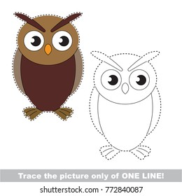 Owl Bird to be traced only of one line, the tracing educational game to preschool kids with easy game level, the colorful and colorless version.