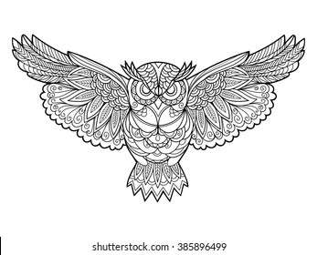 Owl bird coloring book for adults vector illustration. Anti-stress coloring for adult. Zentangle style. Black and white lines. Lace pattern
