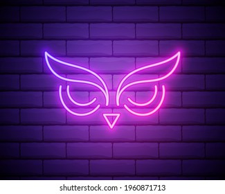 owl, bird, education outline icon in neon style. elements of education illustration line icon. signs, symbols can be used for web, logo, mobile app, UI, UX isolated on brick wall.