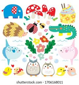 Owl, bird, elephant, crocodile, mole, dancing, chicks, clowns, children, cute, flowers, mushrooms, mola mola, sun fish, burnt leaves, cute, kawaii, ladybug, cup Cake, cakes, bubbles,