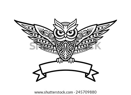 Owl Bird In Tribal Style For Tattoo Or Logo Template