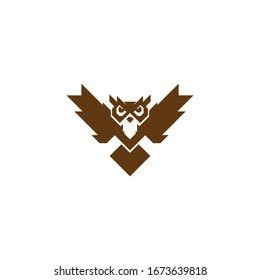 Owl Bird Wings Flying Animal Knowledge Wisdom Simple Symbol Logo