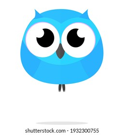 Owl Birds Blue kawaii cute Animal Cartoon illustration Vector