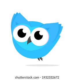 Owl Birds kawaii cute Blue  Fly Animal Cartoon illustration Vector