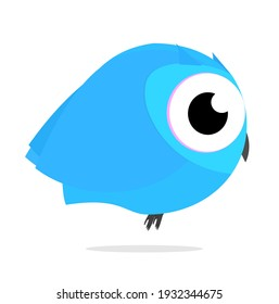 Owl Birds kawaii cute Blue  Side view  Animal Cartoon illustration Vector