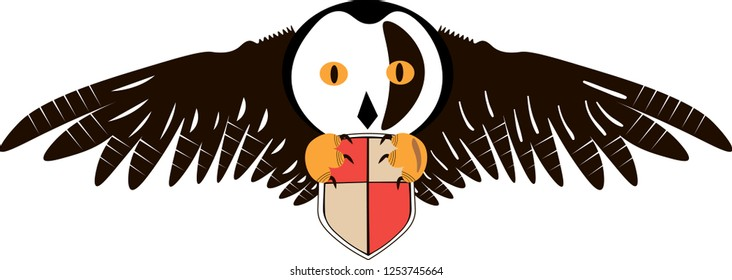 Owl with black wings holding a two-color shield