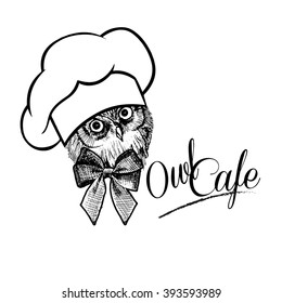 Owl cafe. Owl - cook. Owl in the bell with a bow