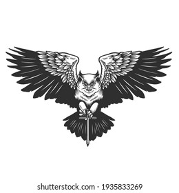 An owl. Can be used as a sketch of a tattoo.